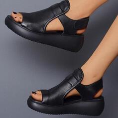De mujer PU Tipo de tacón Sandalias Plataforma Cuñas Encaje Solo correa Top bajo con Velcro Color sólido zapatos