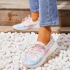 Mulheres Flying Weave Sem salto Low Top Tênnis Loafers & Slip-Ons com Aplicação de renda sapatos