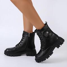Mulheres PU Sem salto Botas Bota no tornozelo Toe rodada com Zíper Aplicação de renda Cor sólida sapatos