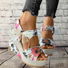 Femmes Tissu Talon compensé Sandales Plateforme Compensée À bout ouvert Escarpins Talons avec Bowknot Couture dentelle Imprimé fleur chaussures