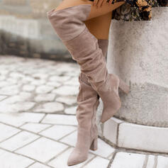 Women's Suede Chunky Heel Boots With Ruched Zipper Solid Color shoes