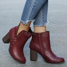 De mujer PU Tacón ancho Botas al tobillo Top bajo Tacones Dedo del pie puntiagudo con Cremallera Color sólido zapatos
