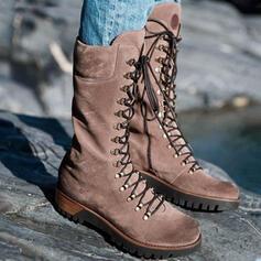 De mujer PU Tipo de tacón Botas longitud media Martin botas Encaje con Cordones Color sólido zapatos