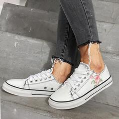 Femmes Tissu Talon plat Chaussures plates bout rond Tennis avec Dentelle chaussures