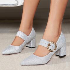 Mulheres Microfibra Couro Salto robusto Bombas Fechados Low Top Dedo pontudo com Strass Espumante Glitter Fivela sapatos