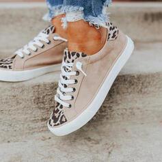 Femmes Similicuir Talon plat Chaussures plates bout rond Espadrille avec Dentelle Couleur d'épissure chaussures