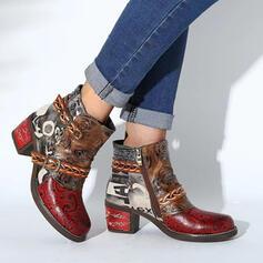 Femmes PU Talon bottier Bottes Bottines Bout pointu avec Zip Couleur d'épissure Imprimé fleur chaussures