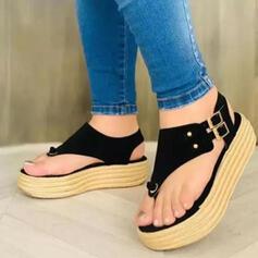 Women's Suede Flat Heel Sandals Platform Peep Toe Heels With Buckle Hollow-out shoes