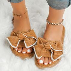 Femmes Suède Talon plat Chaussons avec Bowknot chaussures