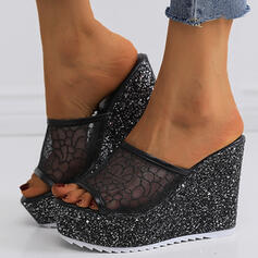 Talon compensé Sandales Plateforme Compensée À bout ouvert Chaussons Talons avec Pailletes scintillantes Couture dentelle Couleur unie chaussures