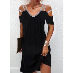 Solid Sequins Short Sleeves Cold Shoulder Sleeve Shift Above Knee Little Black/Elegant Dresses