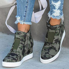 Women's PU Wedge Heel Boots With Splice Color shoes