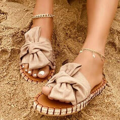 Women's Cloth Flat Heel Sandals Slippers With Bowknot Solid Color shoes