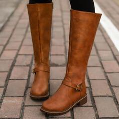 Mulheres PU Salto robusto Botas de montaria Toe rodada com Fivela Zíper Cor sólida sapatos