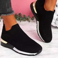Femmes PU Talon plat Chaussures plates bout rond Tennis avec Dentelle Couleur d'épissure chaussures