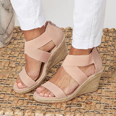 Women's PU Wedge Heel Sandals Platform Wedges Peep Toe With Solid Color shoes