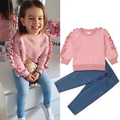 2-pieces Toddler Girl Ruffle Solid Denim Cotton Set