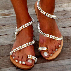 Femmes PVC Talon plat Sandales Chaussures plates Anneau d'orteil avec Strass Perle d'imitation Ouvertes chaussures