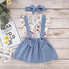 3-pieces Toddler Girl Ruffle Floral Print Cotton Set
