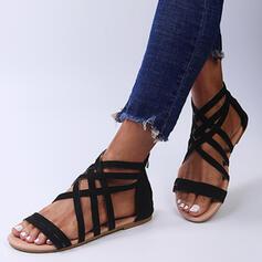Mulheres Camurça Sem salto Sandálias Sem salto Peep toe com Zíper Cor sólida Cruzado sapatos