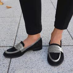 Femmes Suède Talon plat Chaussures plates Flâneurs Glisser sur avec Couleur d'épissure chaussures