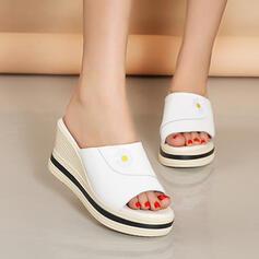 Women's PU Wedge Heel Sandals Platform Wedges Peep Toe Slippers Heels With Solid Color shoes