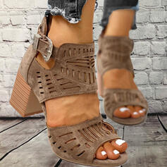 Women's PU Chunky Heel Sandals With Buckle Hollow-out shoes