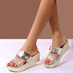 Women's PU Wedge Heel Sandals Platform Wedges Peep Toe Slippers Heels With Rhinestone Hollow-out shoes