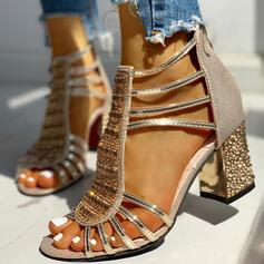 Women's PU Chunky Heel Sandals Pumps Peep Toe With Rhinestone Sequin Zipper shoes