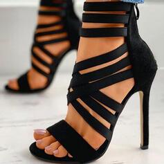 Women's PU Stiletto Heel Pumps Peep Toe Heels With Zipper Bandage Solid Color shoes