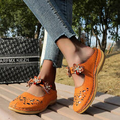 Women's PU Wedge Heel Sandals Platform Closed Toe Wedges With Beading Floral Print shoes