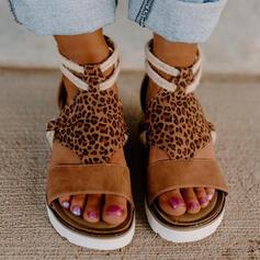 Women's Suede Wedge Heel Sandals Platform Wedges Peep Toe With Animal Print Splice Color shoes