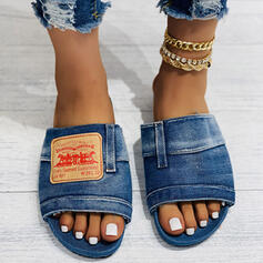 Women's Denim Flat Heel Sandals Slippers With Patchwork shoes