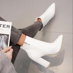 De mujer PU Tacón ancho Botas Botas al tobillo con Color sólido zapatos