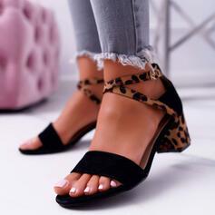 Femmes Suède Talon bottier Sandales Escarpins À bout ouvert Talons avec Boucle La copie Animale chaussures
