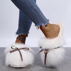 Femmes Faux-Fur Talon plat Chaussures plates Escarpins Chaussons bout rond avec Bowknot Fourrure Couleur unie chaussures