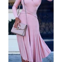 Solid Long Sleeves A-line Sweater/Skater Little Black/Casual/Elegant Midi Dresses