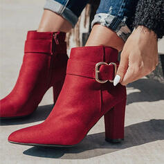 Women's Suede Chunky Heel Ankle Boots Pointed Toe With Buckle Zipper Solid Color shoes