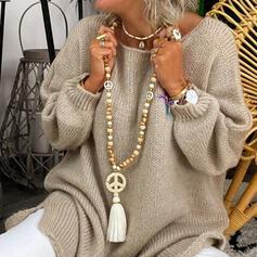 élégant Boho Natural Stone Cristal String coton Perles en bois avec Glands Perles Colliers