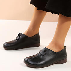 Women's PU Flat Heel Flats Round Toe Loafers & Slip-Ons With Solid Color shoes