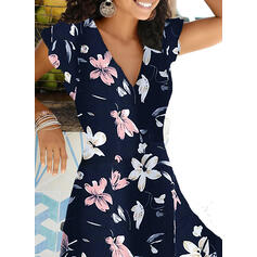 Print/Floral Short Sleeves A-line Knee Length Casual/Vacation Skater Dresses
