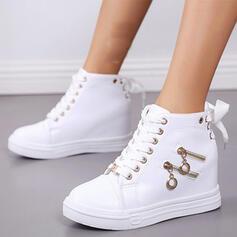 De mujer PU Tacón plano Botas al tobillo con Cremallera Cordones Color sólido zapatos