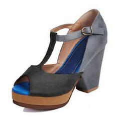 Mulheres PU Salto robusto Sandálias Bombas Peep toe Saltos com Fivela sapatos