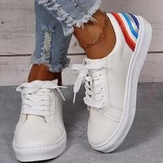 Femmes PU Talon plat Chaussures plates Low Top bout rond Tennis avec Dentelle Stripe chaussures