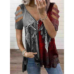 Color Block Print Cold Shoulder Short Sleeves T-shirts