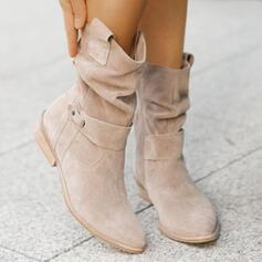Mulheres Camurça Salto robusto Botas Botas na panturrilha Dedo pontudo com Fivela Zíper Cor sólida sapatos
