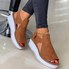 De mujer Ante Tipo de tacón Sandalias Plataforma Cuñas Encaje Solo correa con Agujereado Velcro Color sólido zapatos