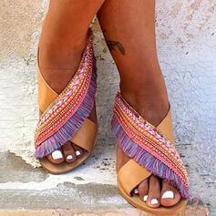 Women's PU Flat Heel Sandals Peep Toe Slippers With Tassel Splice Color shoes
