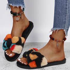 Femmes Faux-Fur Talon plat Sandales Chaussures plates À bout ouvert Chaussons avec Fourrure Bloc de couleur chaussures