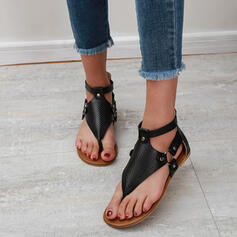 Women's PU Flat Heel Sandals Flats Peep Toe Flip-Flops With Rivet Buckle Solid Color shoes